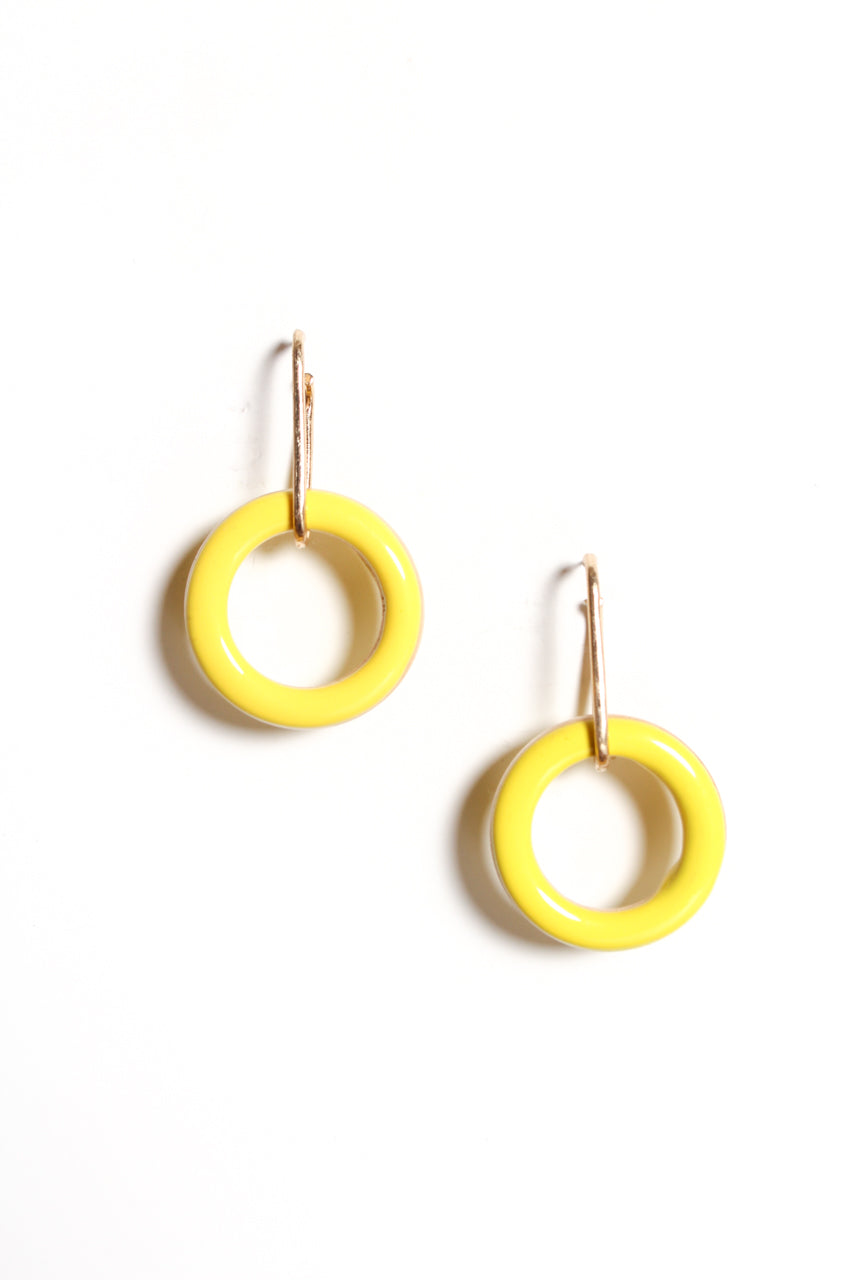 Wood Hoop Dangles - Yellow