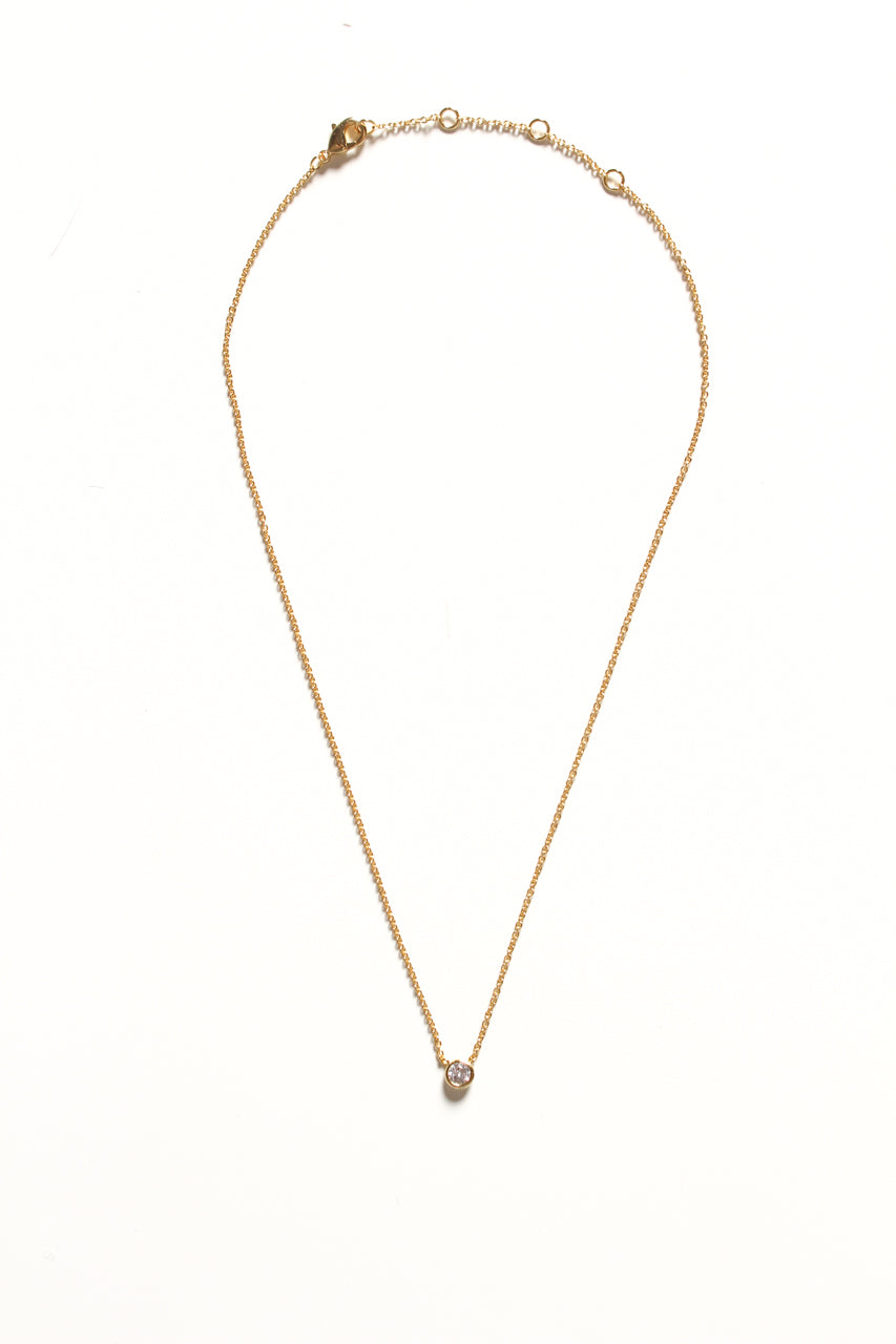Dainty Gemstone Necklace - Gold