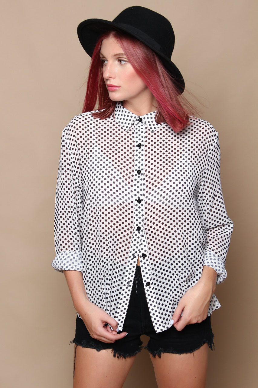 MINKPINK Georgia Buttondown Shirt - Polka Dot