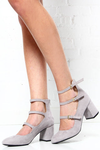 Melba Buckle Heels - Gray