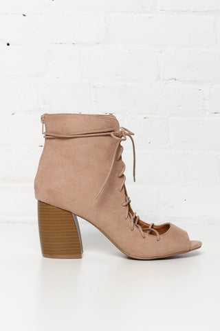 Beau Faux Suede Lace Up Heel - Tan