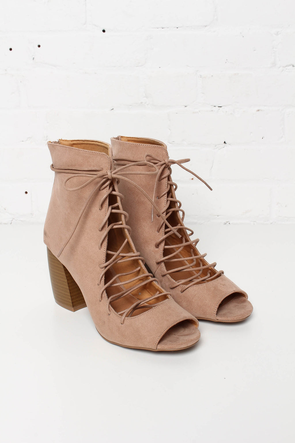 Beau Lace Up Peep Toe Bootie - Tan