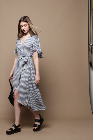 Flutter Sleeve Midi Wrap Dress - Navy Stripe