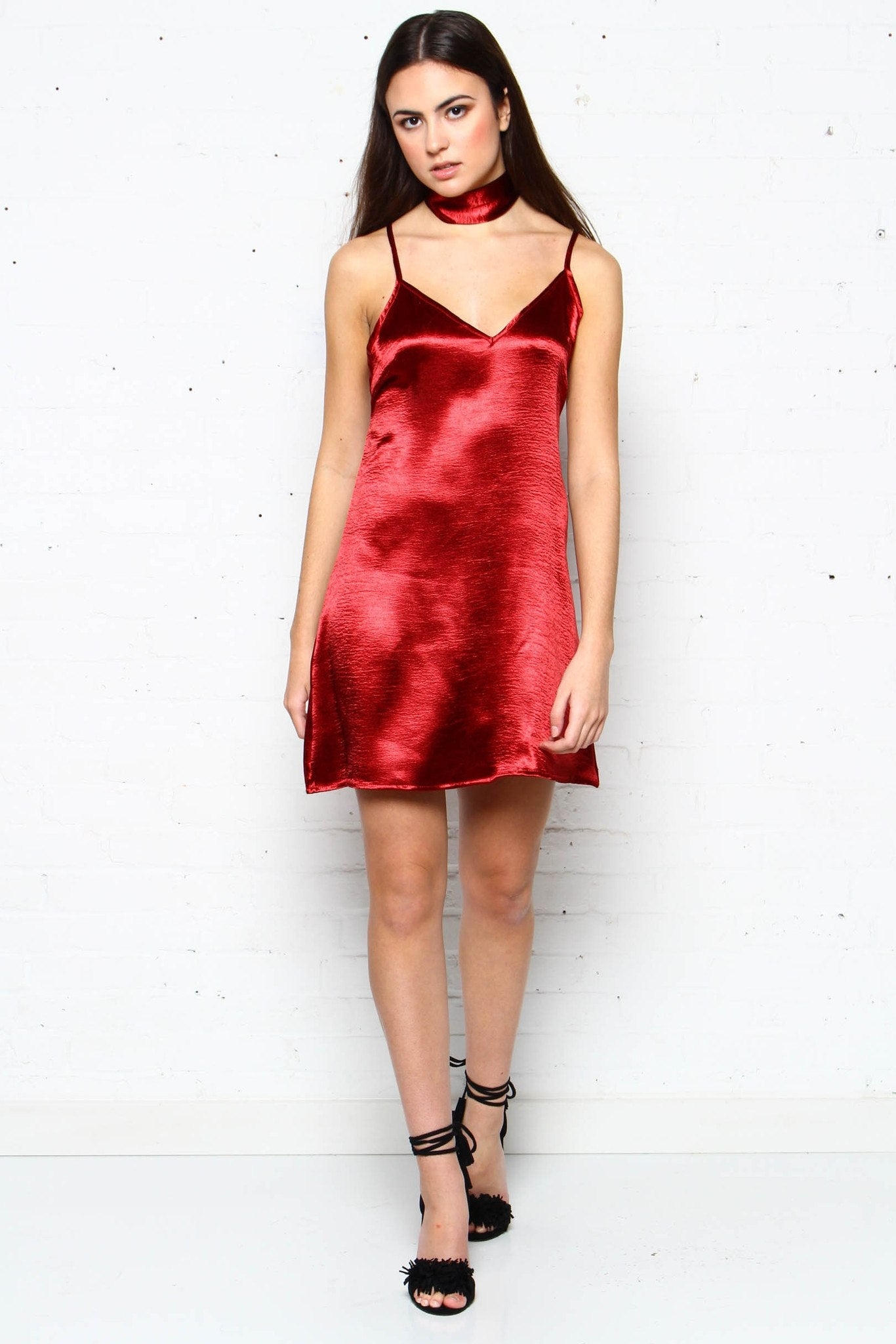 Reverse Choker Slip Dress - Burgundy