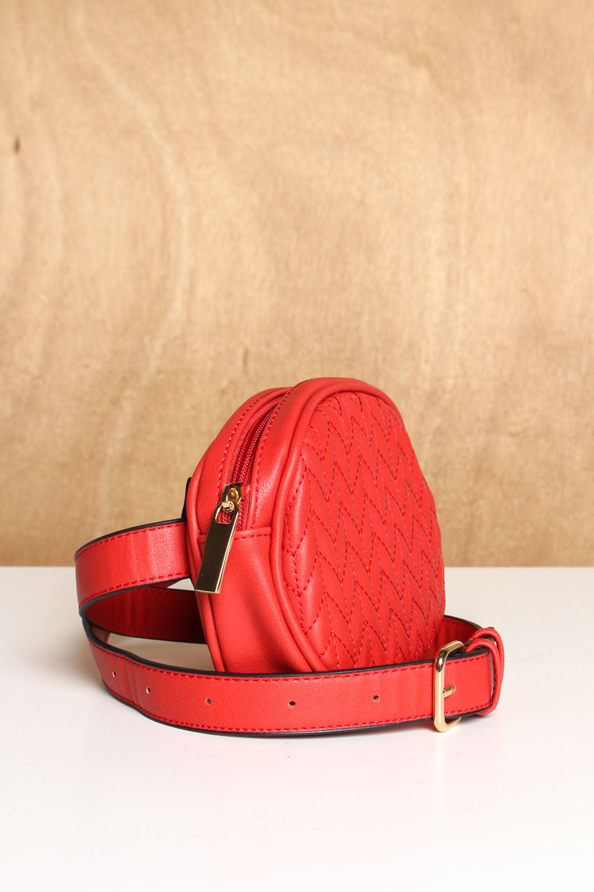 Hands Off Quilted Belt Bag - Red