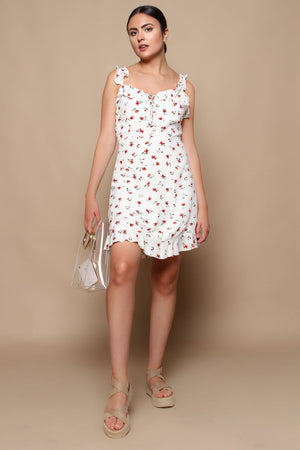 Bebe Lace Up Floral Mini Dress