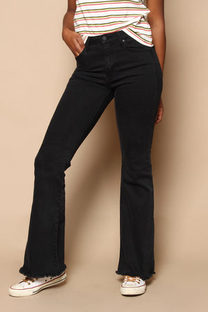 Just Black Highrise Frayed Hem Flare - Washed Black