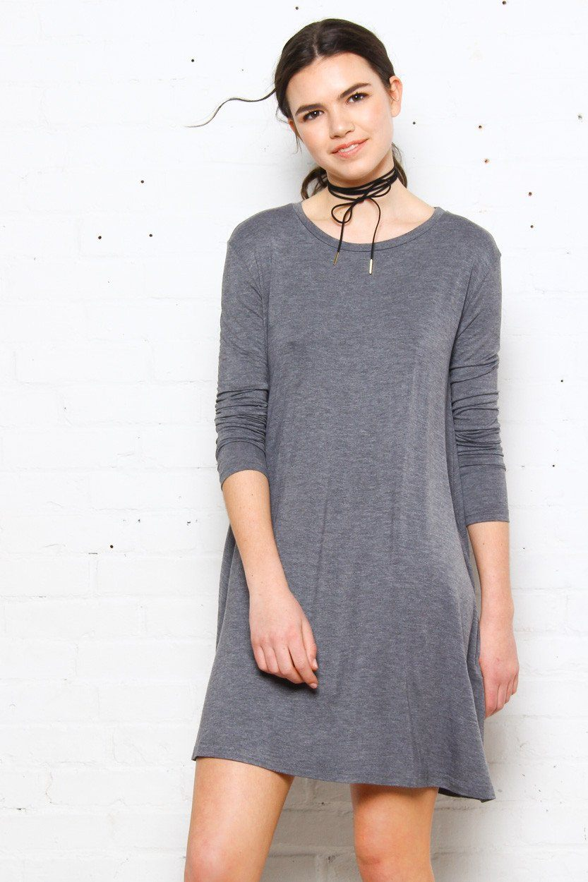 Full Swing Tee Dress - Dark Heather Gray