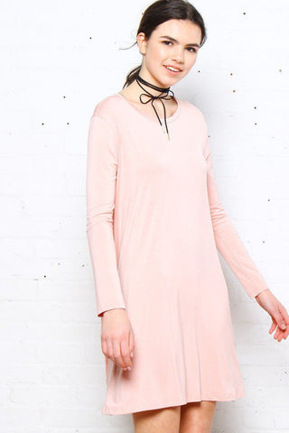 Full Swing Tee Dress - Blush
