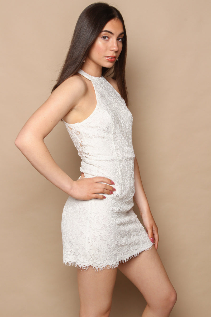White Out Lace Bodycon Dress
