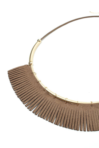 Above The Bar Fringe Necklace - Taupe