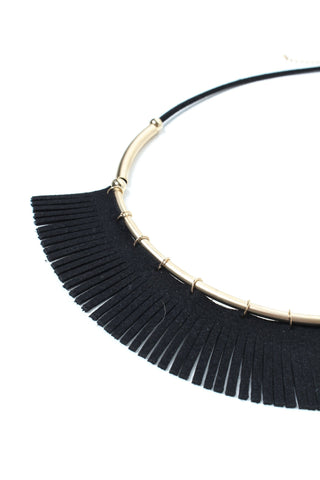 Above The Bar Fringe Necklace - Black