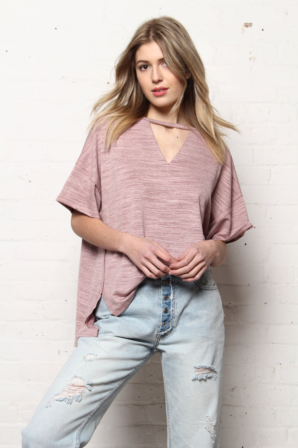 No Cares Boxy Cutout Choker Tee - Soft Mauve