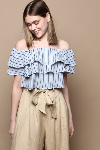 Off The Shoulder Ruffle Crop Top - Light Blue