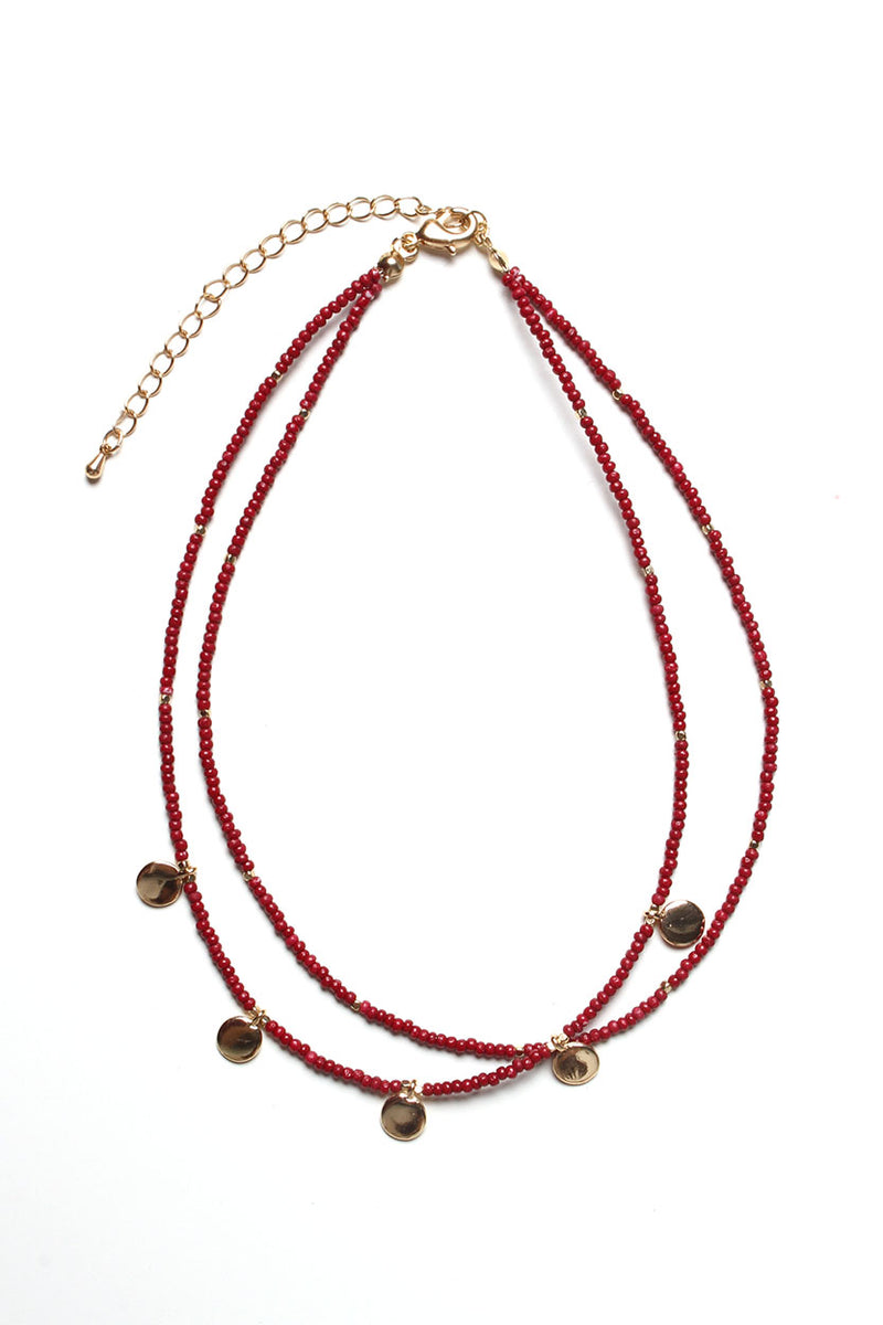 Drop The Bead Choker Necklace - Burgundy