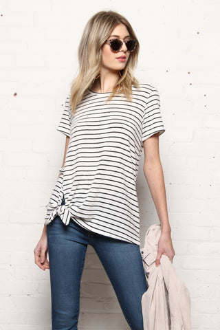 Side Knot Striped Tee Shirt