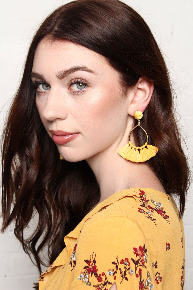 Teardrop Tassel Statement Earrings - Yellow