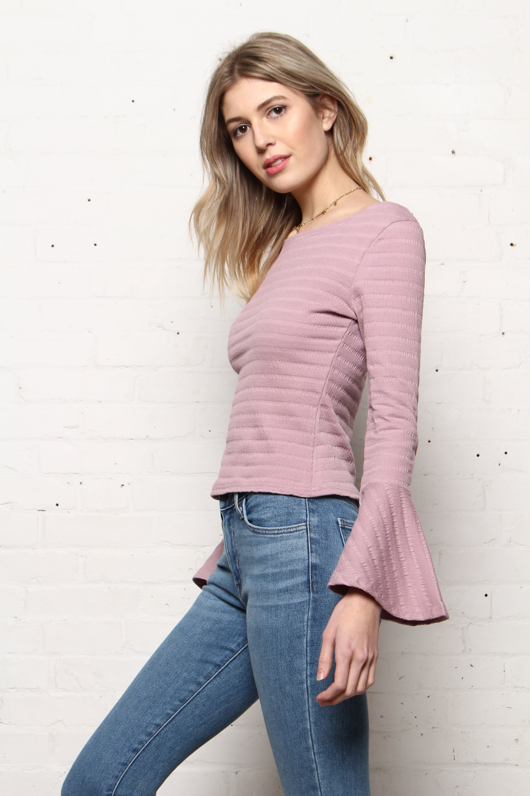 Ribbed Bell Sleeve Top - Misty Pink