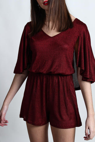 Mercy Cape Sleeve Romper - Burgundy