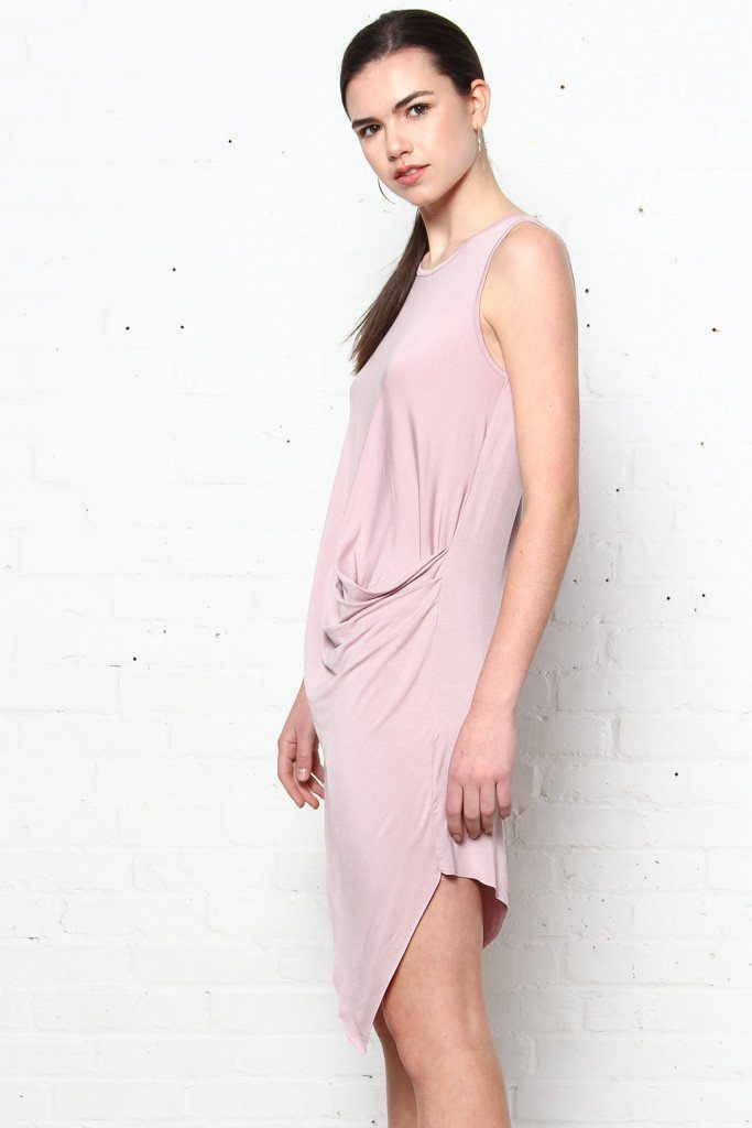 Gather Round Tee Dress - Pink