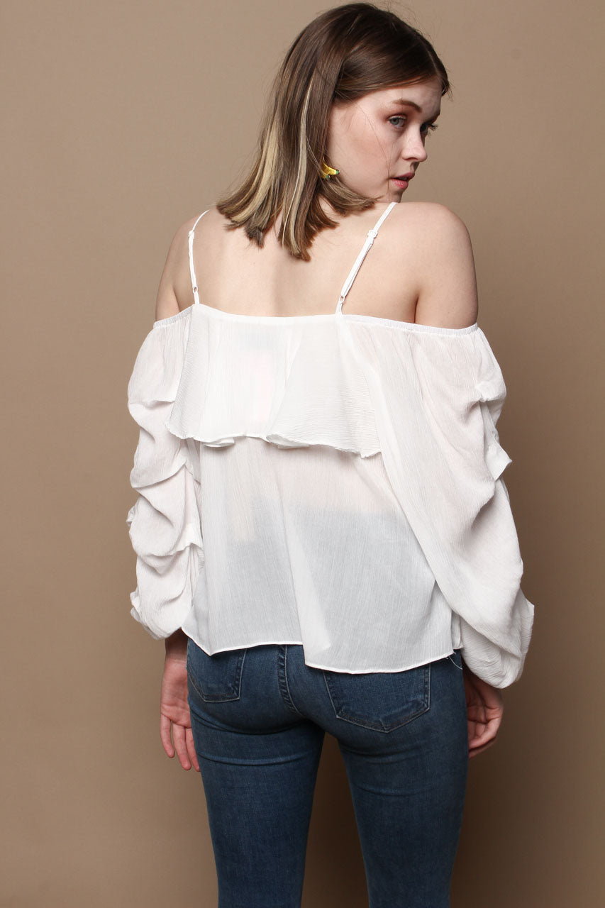 Cold Shoulder Ruffle Sleeve Top - White