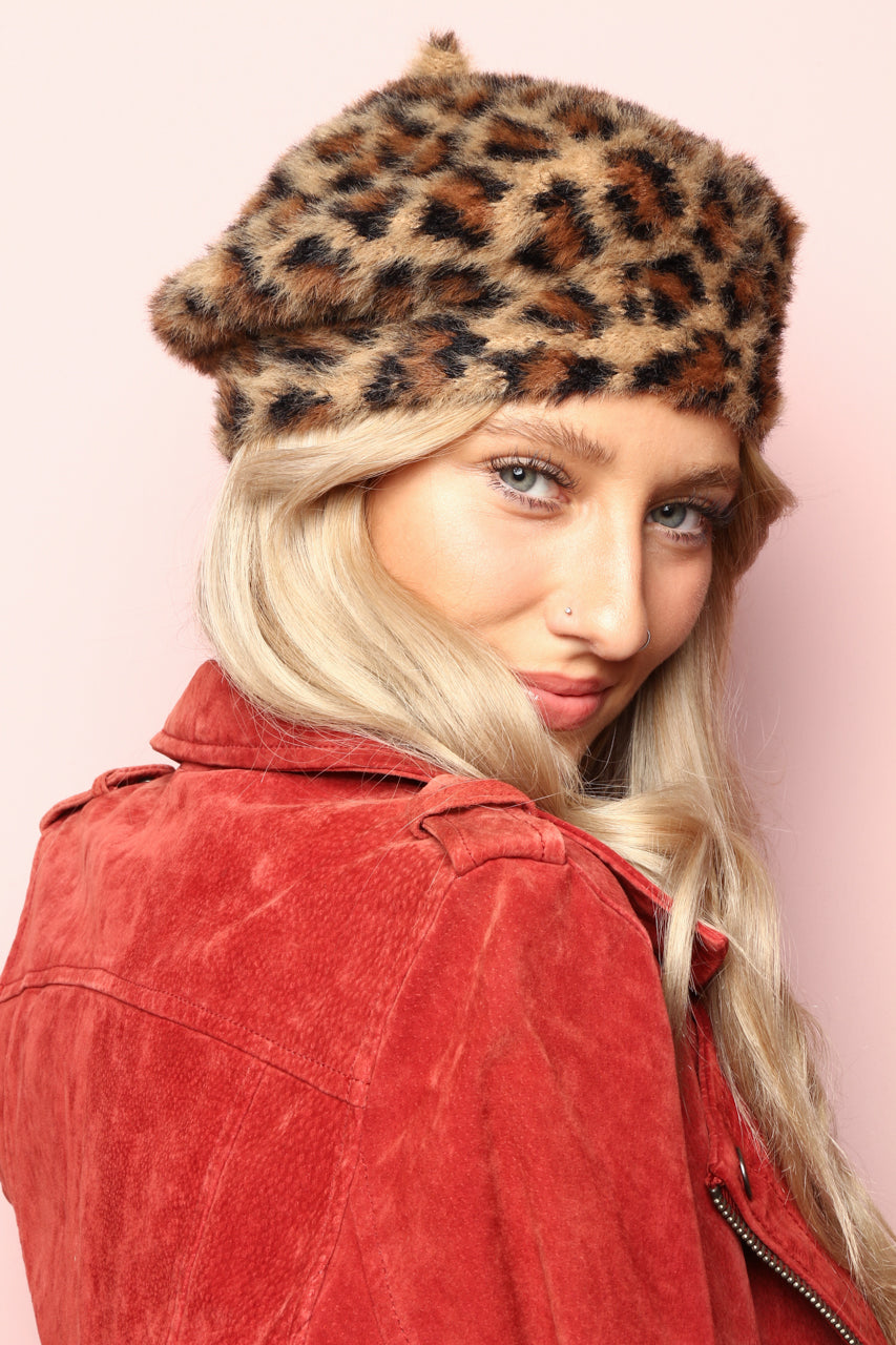 All The Fuzz Leopard Print Beret