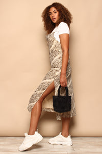 Snake Print Cowl Slip Dress