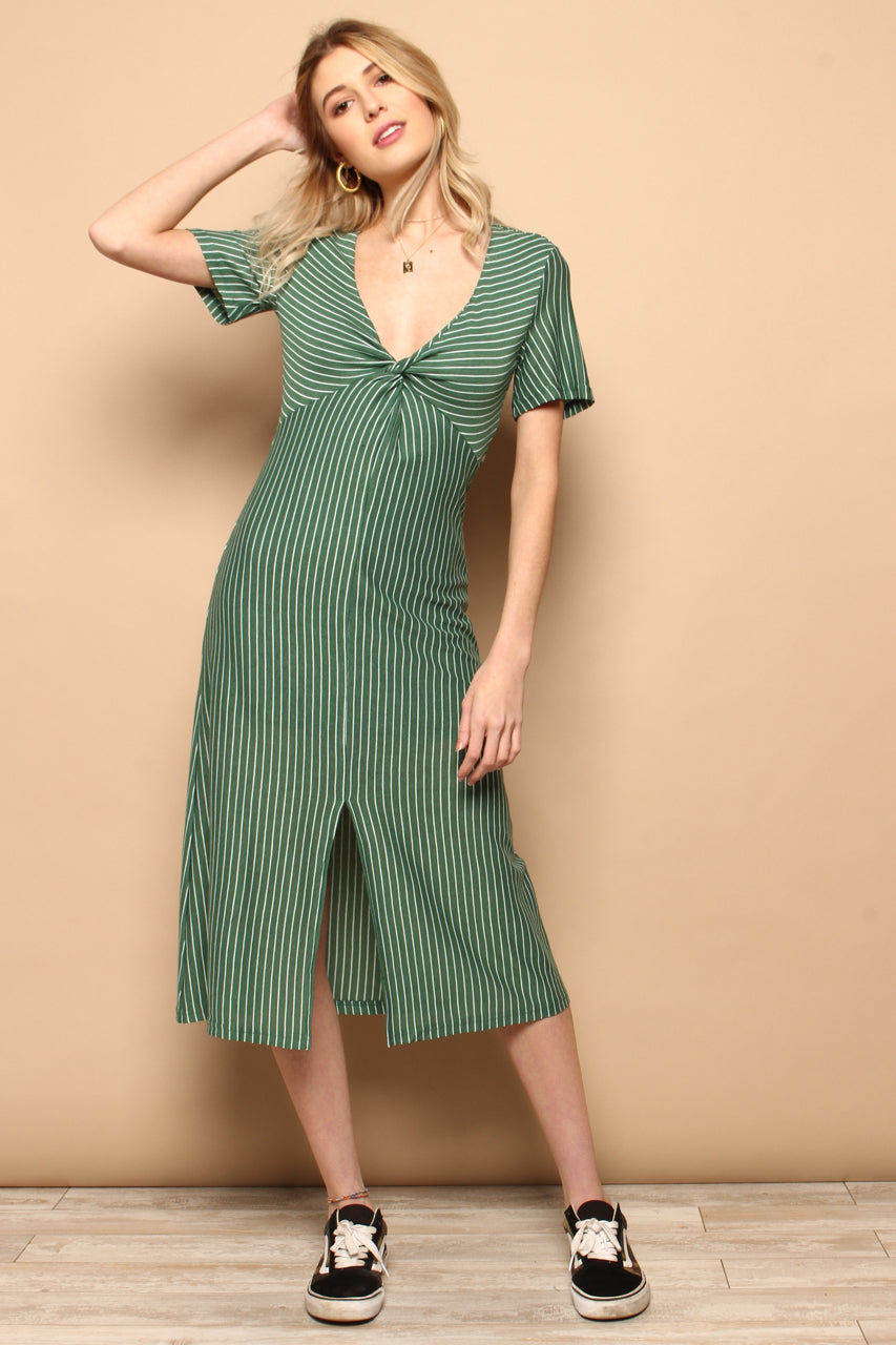 MINKPINK Twist Front Midi Dress