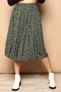 Spotted Pleated Midi Skirt