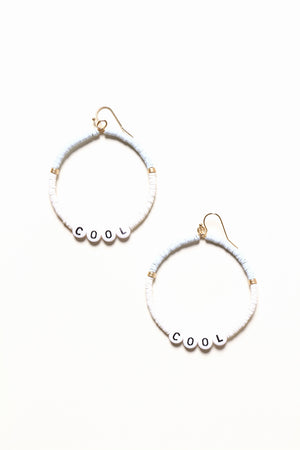 Wordy Beaded Hoops