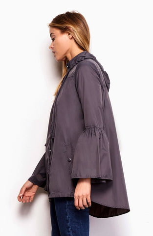 BB Dakota Yael Bell Sleeve Raincoat - Charcoal Grey