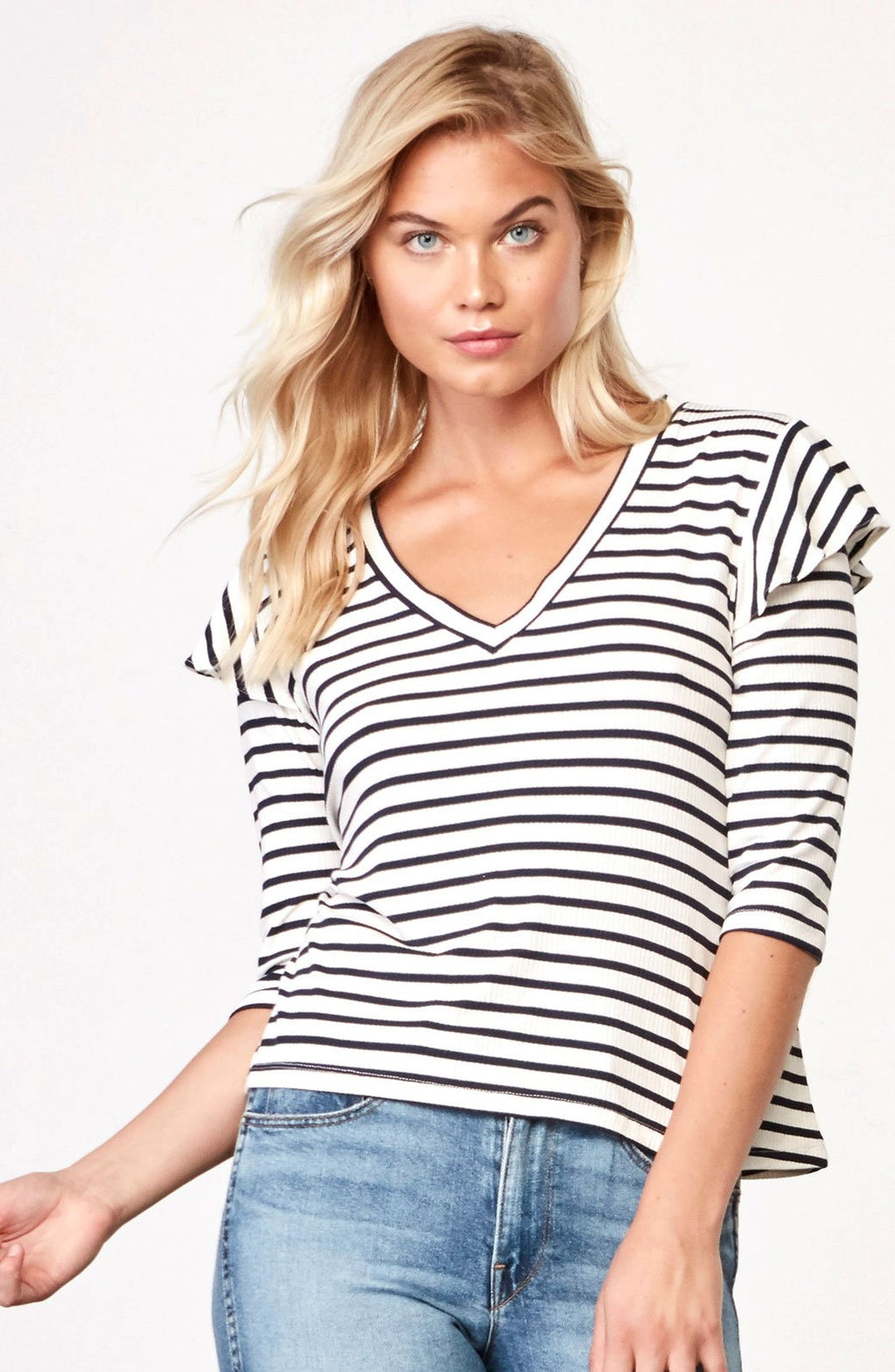 BB Dakota Sofonis Ruffle Tee Shirt - Stripe