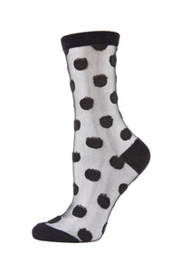 Me Moi Sheer Polka Dot Crew Socks
