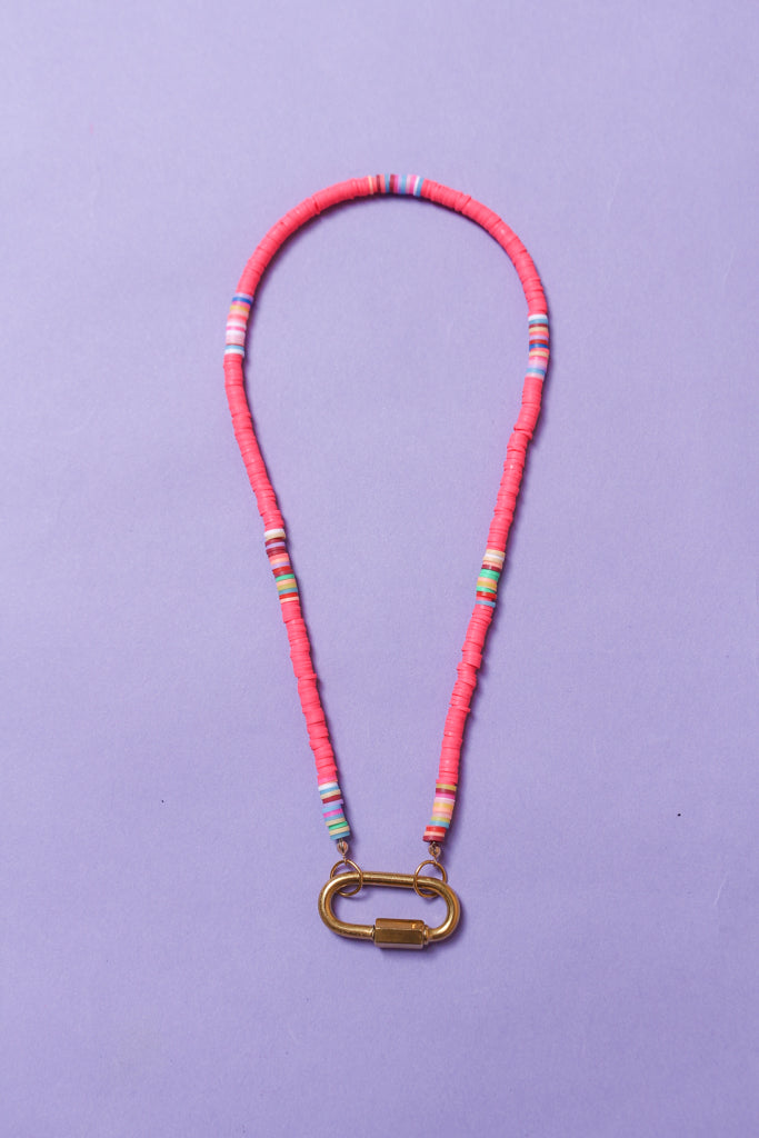 Neon On It Beaded Carabiner Necklace