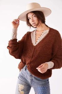 Free People Cozy Icing V Neck Pullover
