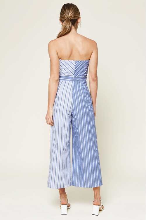 Leo Strapless Striped Jumpsuit
