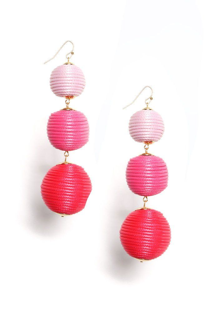 Drop The Ball Earring - Pink