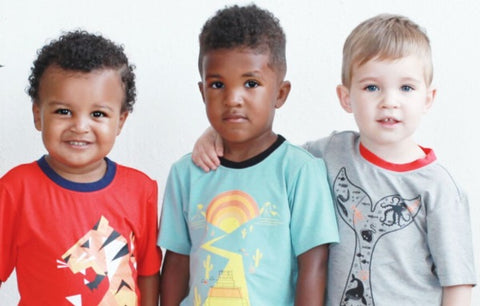boys wearing organic cotton printed t-shirts