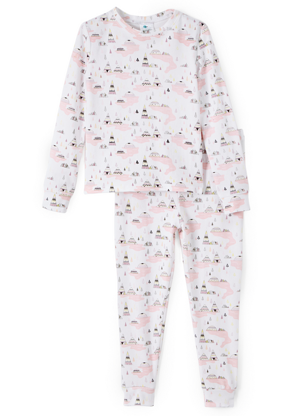 Two Piece Pajama Set - Happy Camper Pink