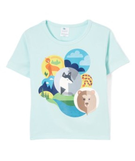 Boys short sleeved animal adventure tee made with organic bamboo
