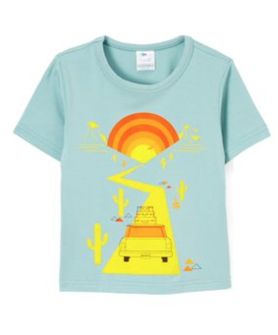 Boys short sleeved tee with road trip print