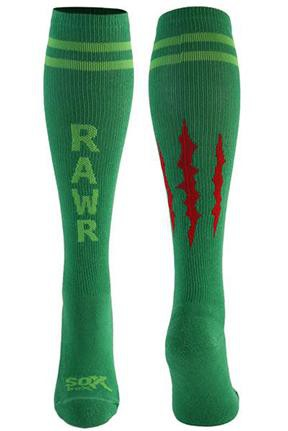 Rawr Green Athletic Knee High Socks- The Sox Box