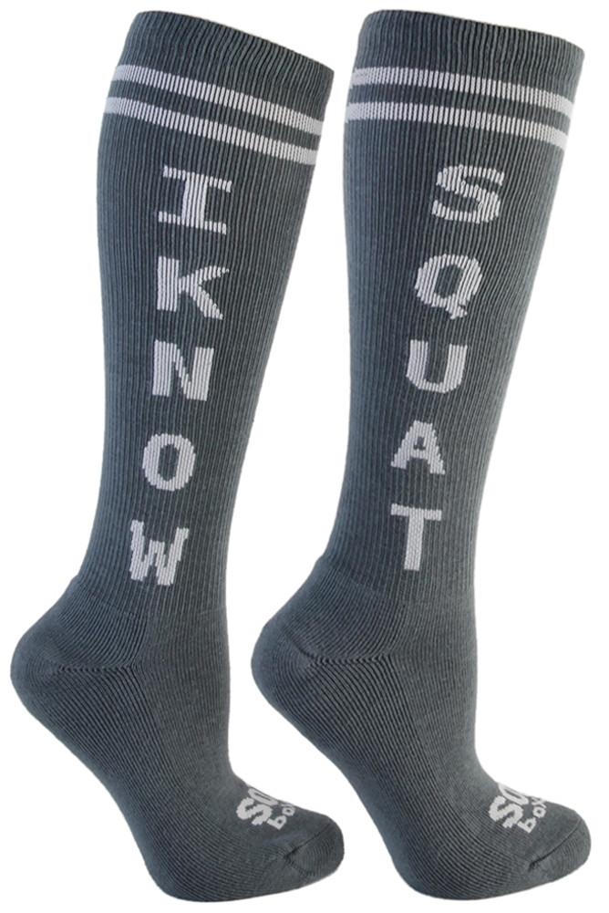 I Know Squat Grey Athletic Knee High Socks- The Sox Box