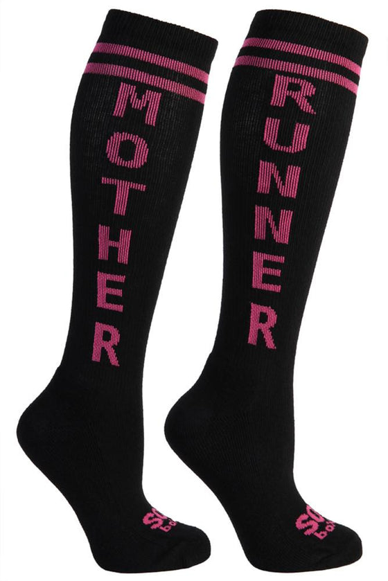 Mother Runner Women's Black Athletic Knee High Socks- The Sox Box