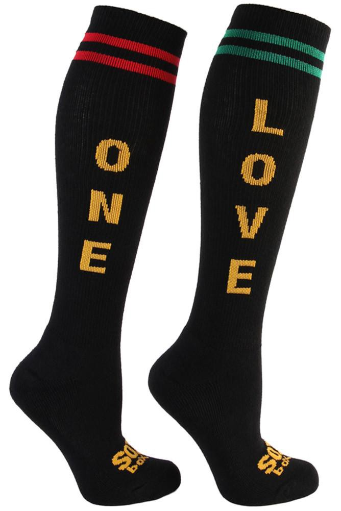 One Love Fun Athletic Black Knee High Socks - The Sox Box