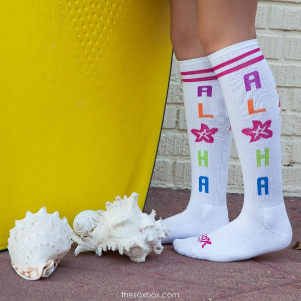 Aloha Women's White Knee High Athletic Socks- The Sox Box
