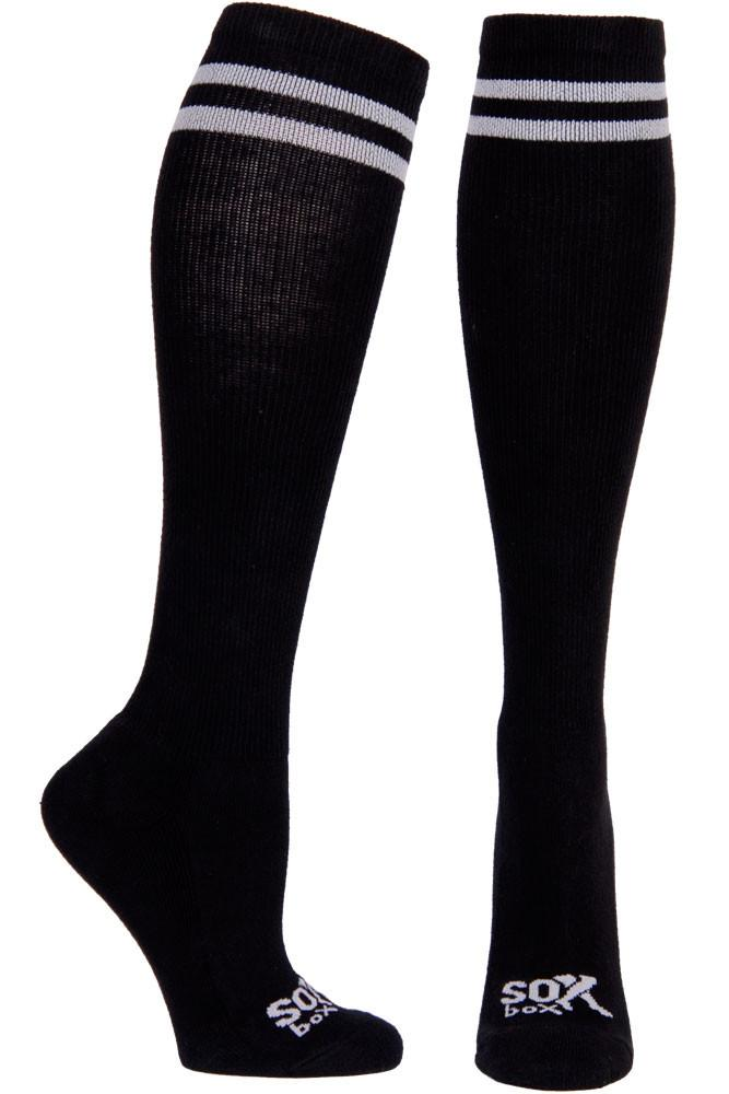 Black/White Speechless Athletic Knee High Socks- The Sox Box