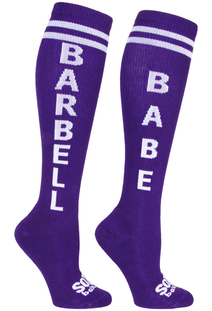Barbell Babe Purple Athletic Knee High Socks- The Sox Box