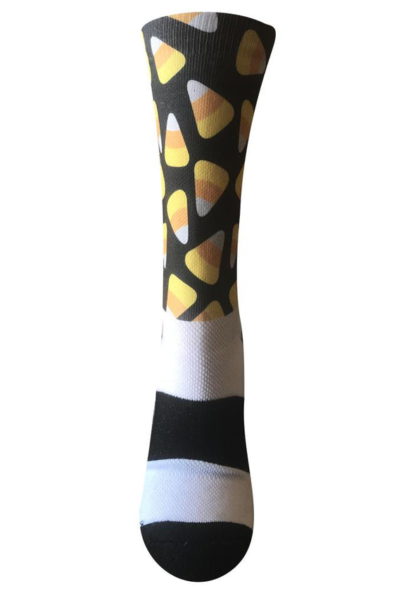Candy Corn Black Novelty Fun Athletic Socks- The Sox Box
