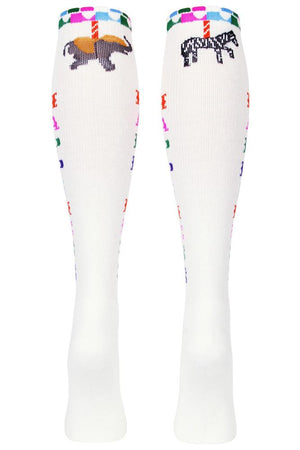 Happiness Women's White Athletic Knee High Socks- The Sox Box
